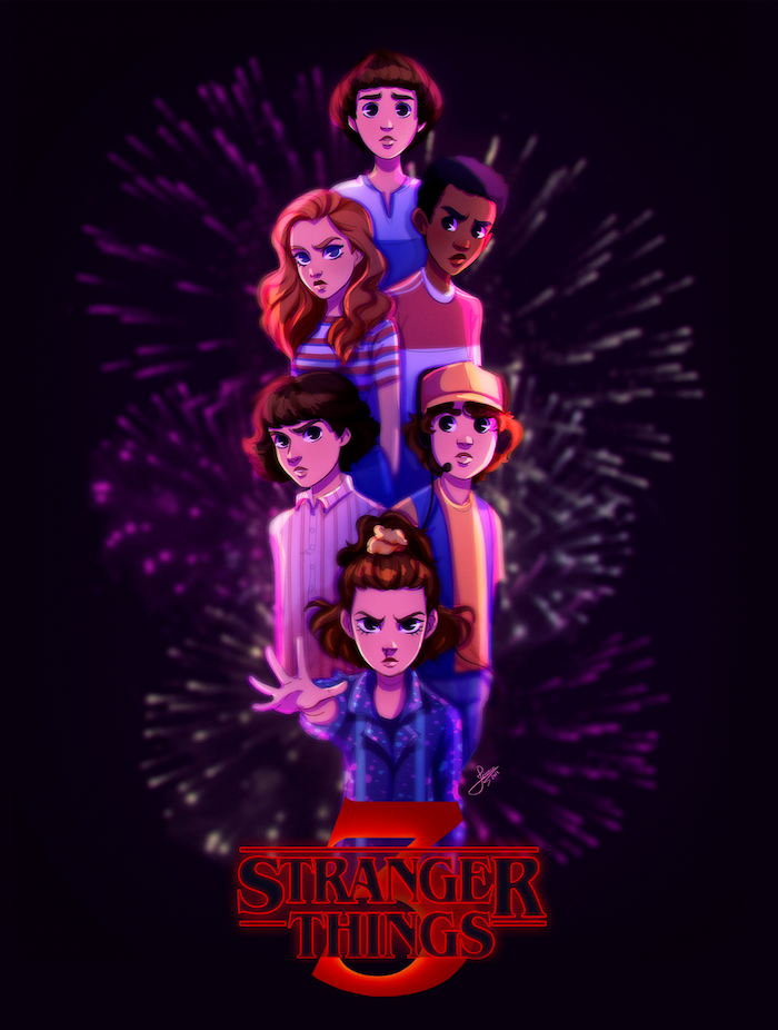 cartoon image of eleven and mike, will and dustin, lucas and mike, stranger things wallpaper season 3, black background