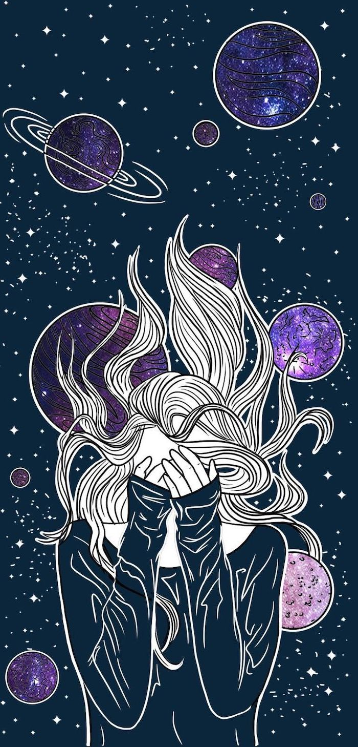 cartoon image of woman with long hair hiding her face in her hands galaxy wallpaper 4k planets in the background