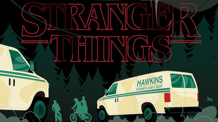 cartoon image of hawkins vans, dustin mike lucas and eleven on their bikes, stranger things season 3 wallpaper