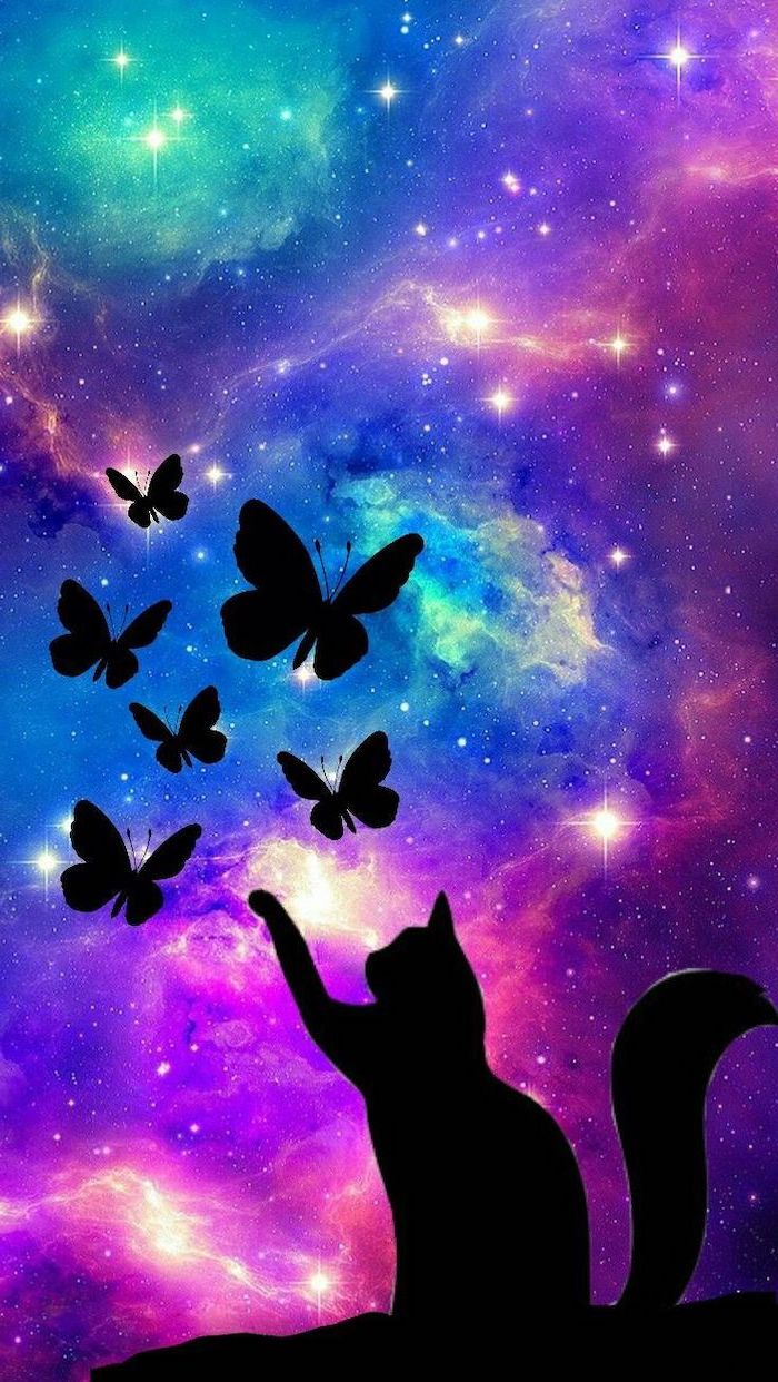 silhouette of a cat playing with butterflies, space wallpaper hd, colorful background with lots of stars