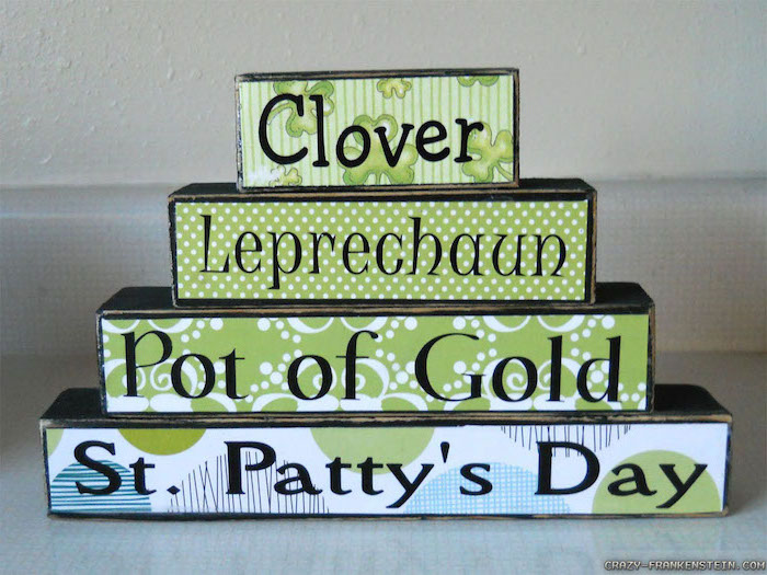 clover and leprechaun, pot of gold, st patty's day, written on wooden blocks, stacked together, st patricks day wreath