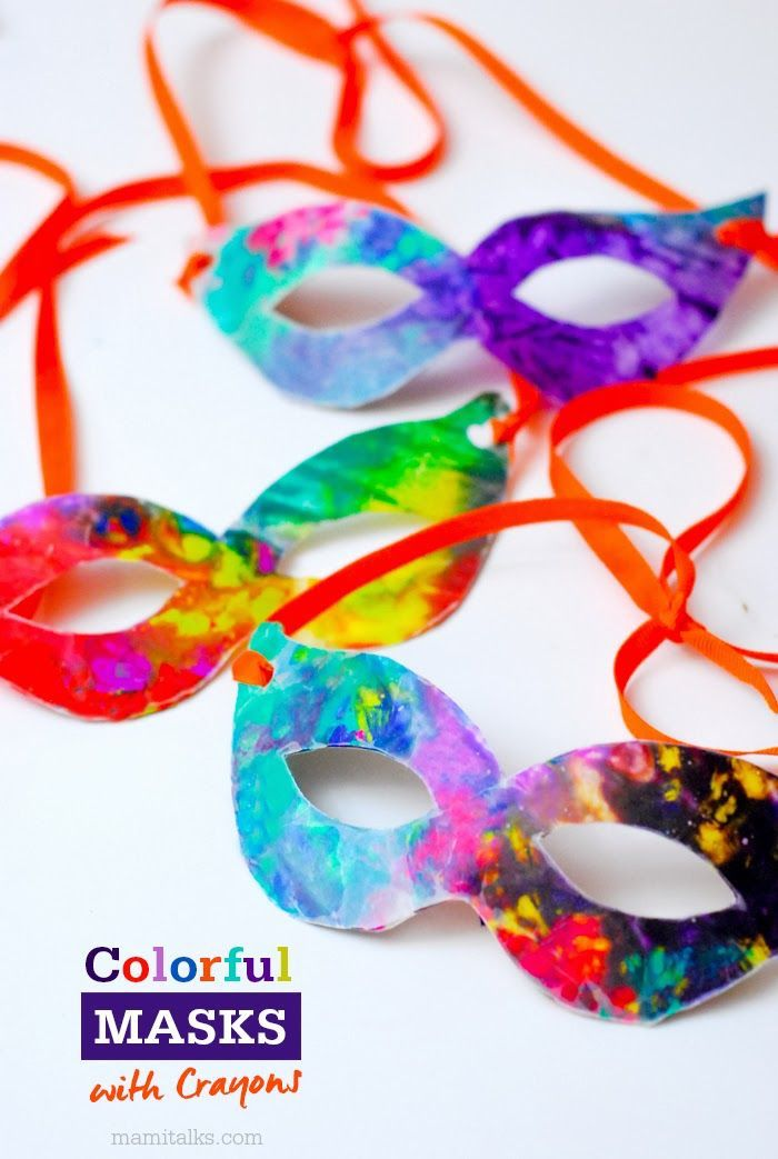 masquerade masks for men, step by step diy tutorial, colorful masks with crayons, tied with red ribbons
