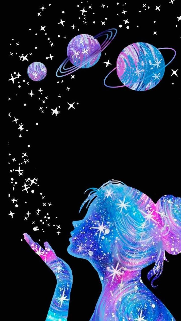 colorful silhouette of a girl with hair in a bun, blowing stars towards planets, space wallpaper hd, black background