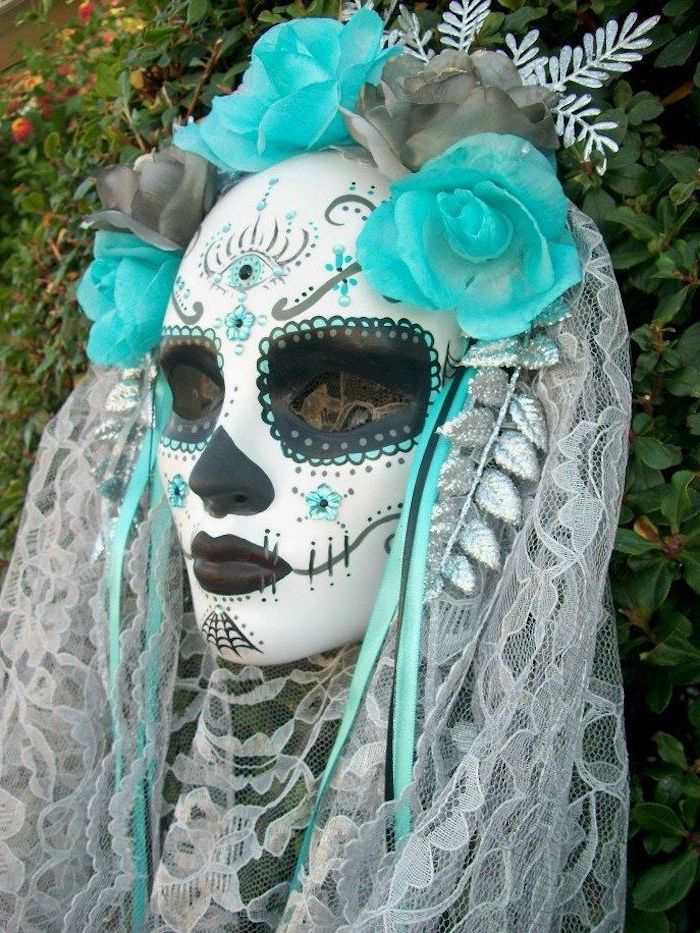 corpse bride mask, black masquerade mask, white lace veil, grey and turquoise roses, made of crepe paper