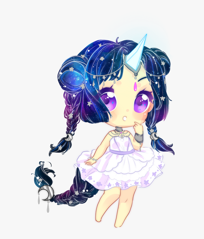 drawing of an anime girl, how to draw a unicorn easy, galaxy hair in braids, painted in white background