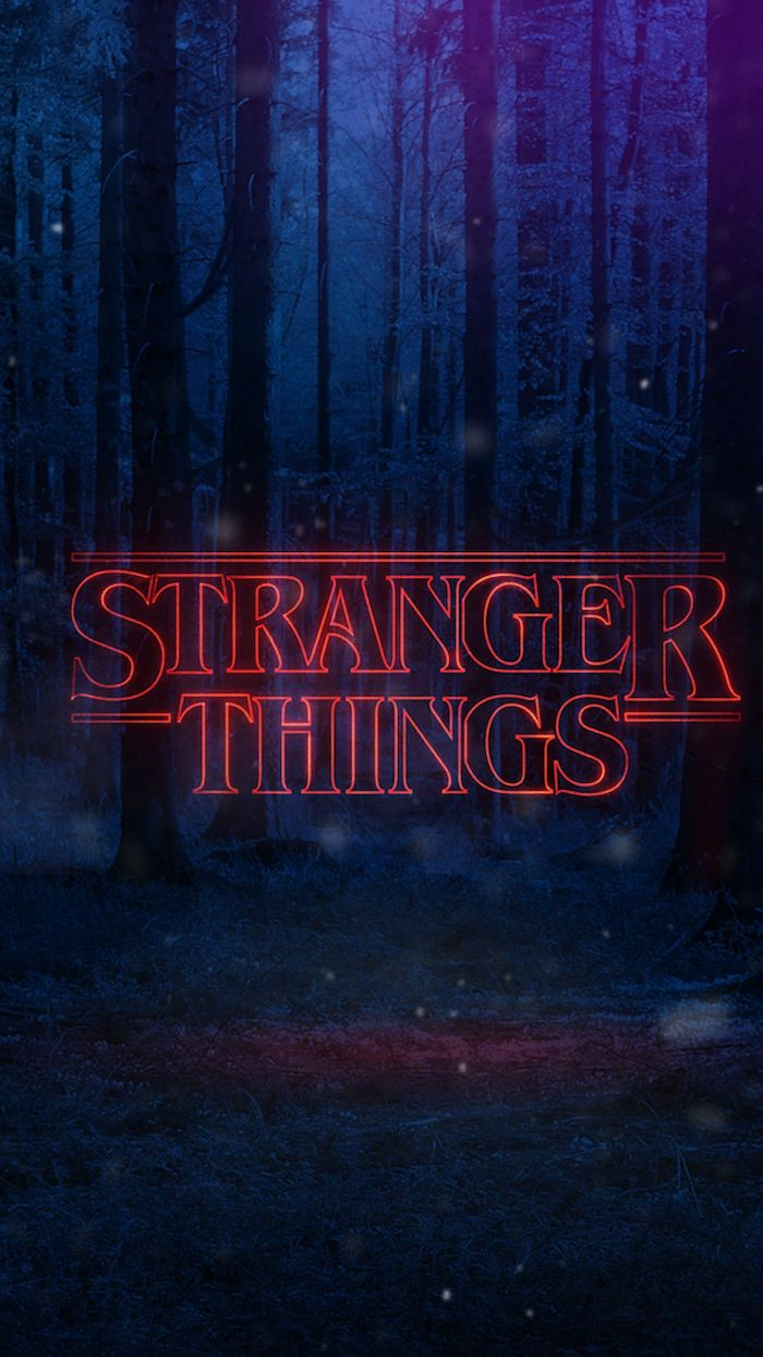 dark forest landscape from the upside down, cute stranger things wallpaper, title logo written in red neon