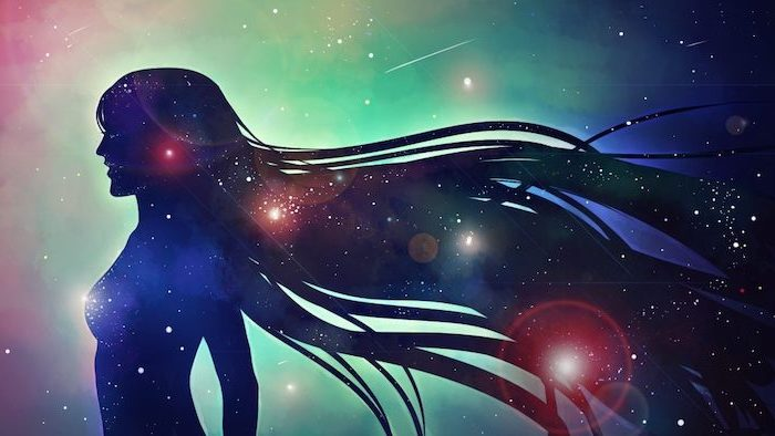 cartoon silhouette of a woman, galaxy behind her in turquoise blue and black, cool galaxy backgrounds, sky filled with stars