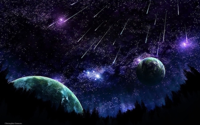 cartoon image of two planets, cool galaxy backgrounds, shooting stars in a galaxy sky, above a forest landscape