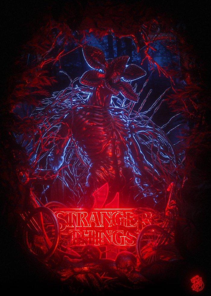 cartoon image of the demogorgon, cute stranger things wallpaper, title logo written in red neon, dark aesthetic