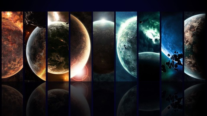 galaxy wallpaper hd, separate images of different planets, arranged together to form one large background