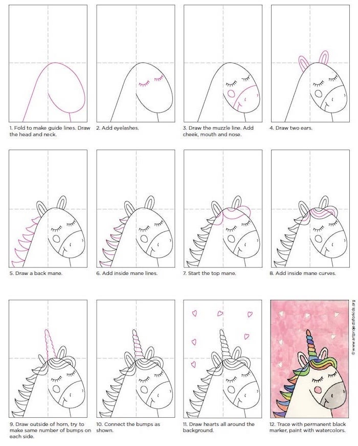 step by step diy tutorial, how to draw a unicorn easy, twelve step tutorial, drawn on white background