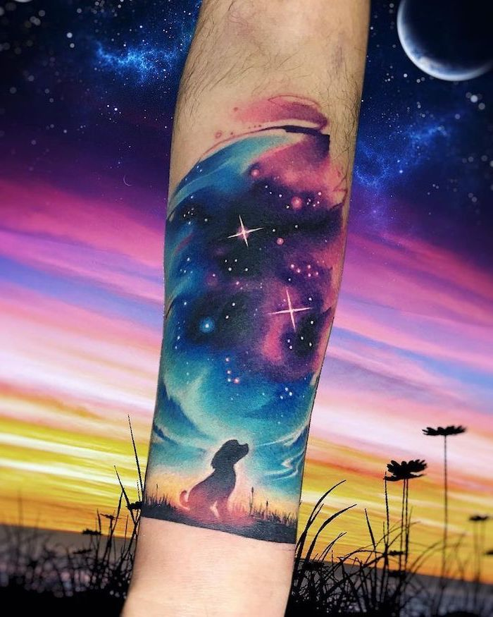 forearm tattoo, dog looking up at a galaxy, blue and purple galaxy with stars, watercolor tattoo, space tattoo sleeve