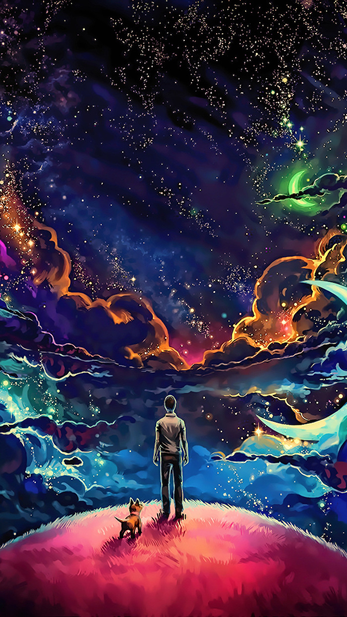 cartoon image of a man and dog, standing on top of a hill, space wallpaper hd, colorful sky filled with stars