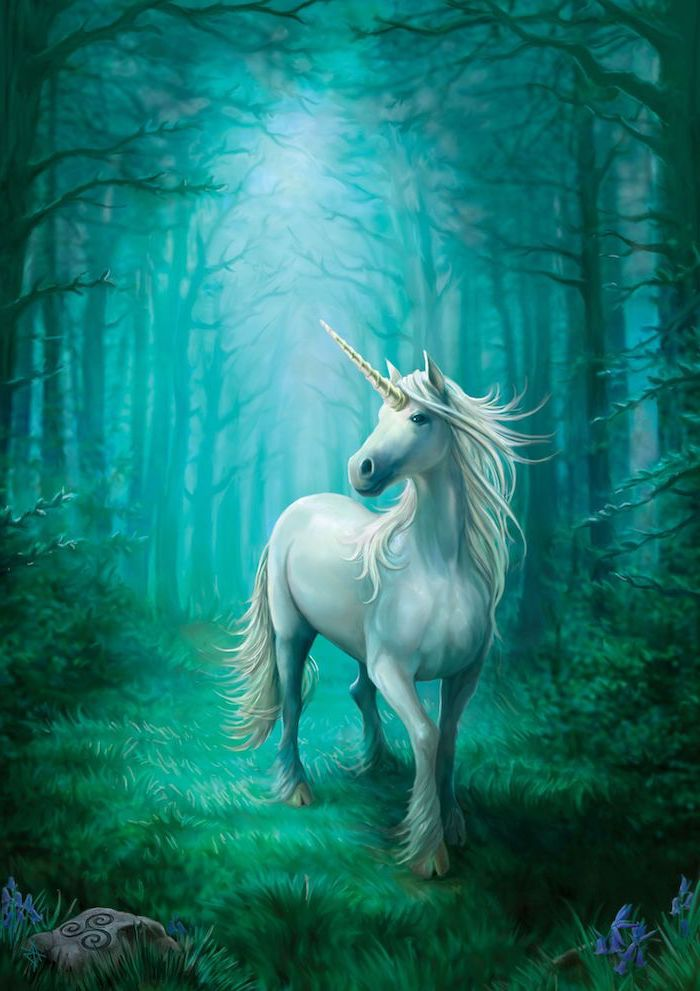 painting of a white unicorn, moving through a dark forest, how to draw a unicorn easy, turquoise and blue hues