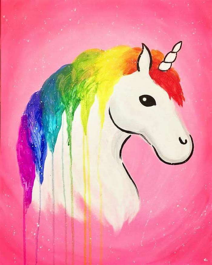 watercolor painting of a unicorn, easy unicorn drawing, rainbow colored mane, drawn on pink background