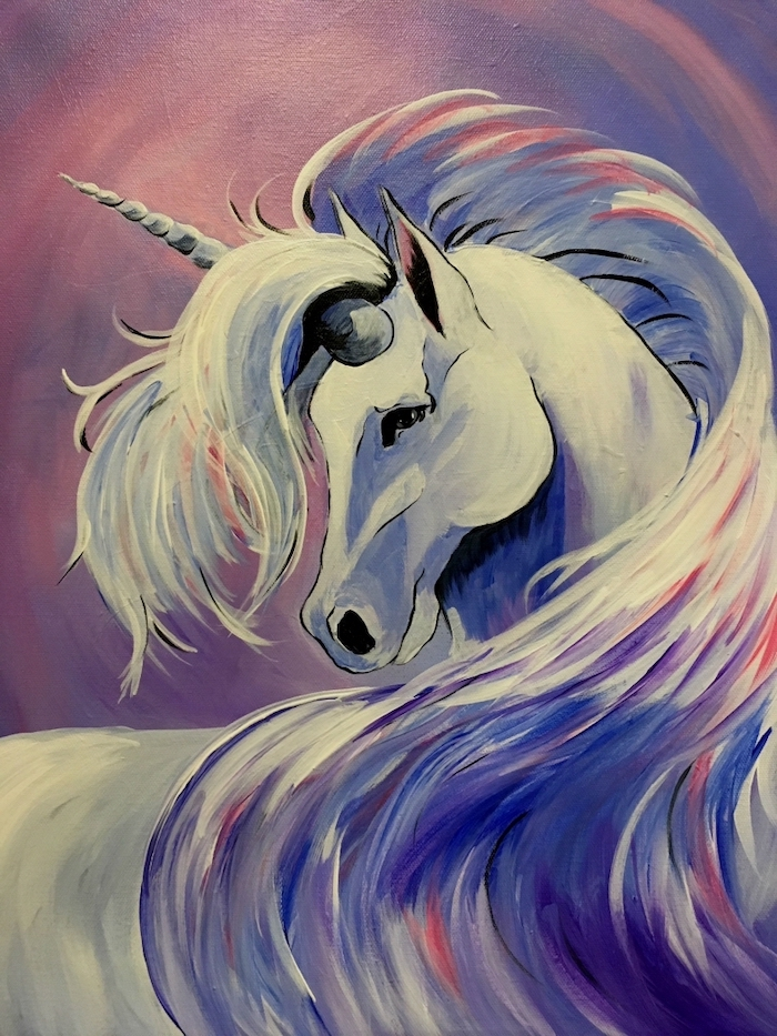 painting of a white unicorn, how to draw a unicorn step by step, red and blue hues and background