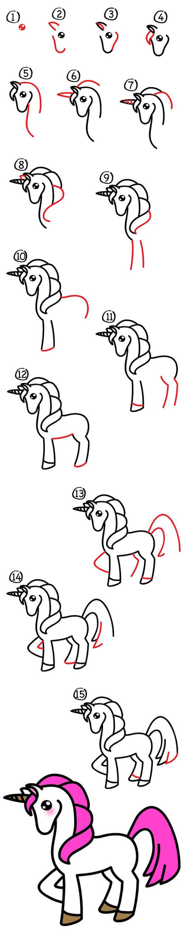 how to draw a unicorn step by step, twenty step drawing tutorial, drawn on white background