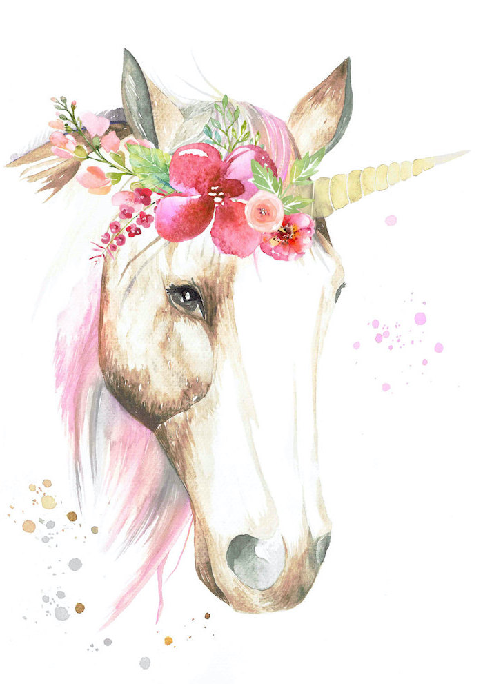 drawing of a unicorn head, how to draw a unicorn step by step, floral crown on its head, painted on white background