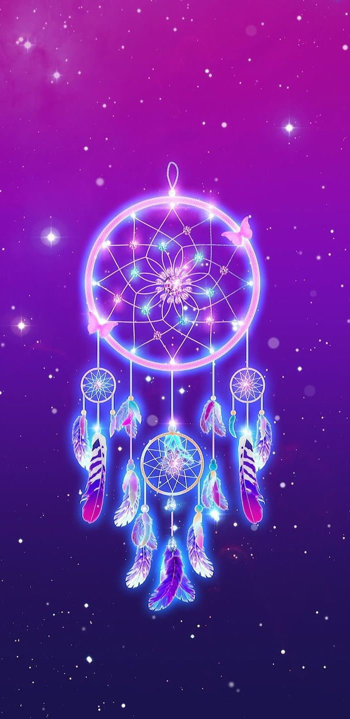 coloful dreamcatcher in the middle, 2k wallpapers, pink and purple background with stars