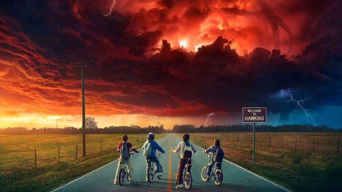 lucas dustin mike and will on their bikes, standing in the middle of the road, mind flayer in the sky, stranger things wallpaper iphone