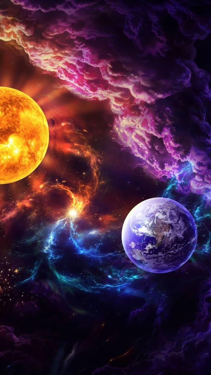 cartoon image of sun and earth, 2k wallpapers, colorful clouds in the background, purple blue and orange colors