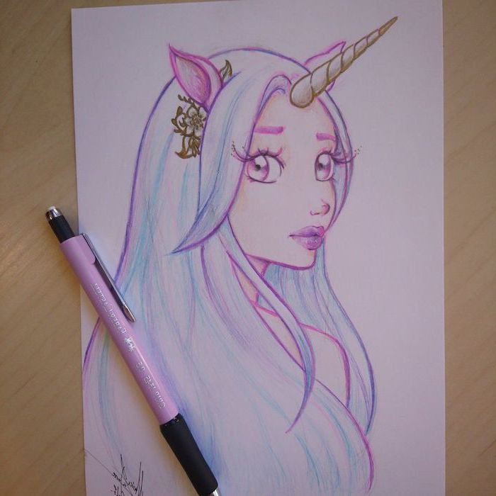 drawing of a girl with blue har, unicorn horn on her head, how to draw a unicorn step by step, drawn on white background