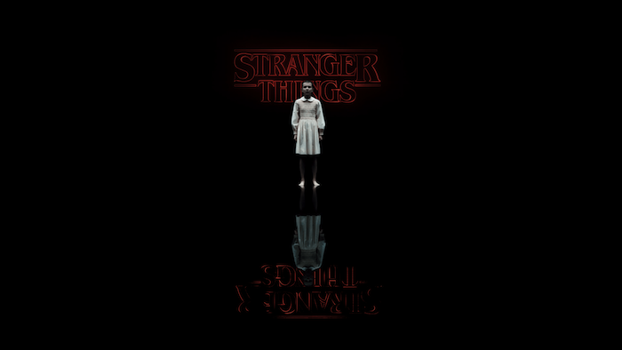 eleven standing in the upside down, mirroring images, stranger things wallpaper iphone, title logo written in neon red on black background