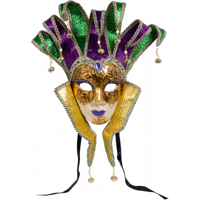 female mask in gold purple and green, black masquerade mask, bells at the end, lips painted in purple