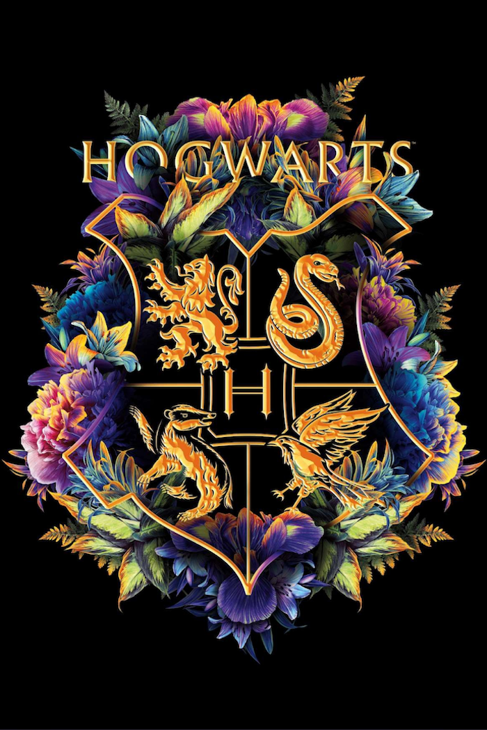 floral symbol of hogwarts, wallpaper harry potter, black background, gryffindor and slytherin, ravenclaw and hufflepuff
