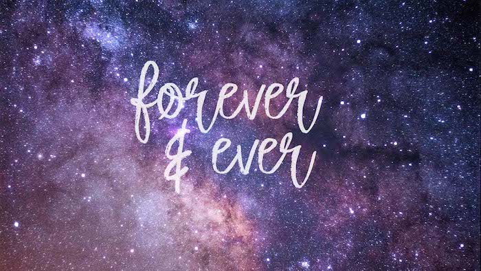 forever and ever cute galaxy wallpaper written in white over galaxy in purple and orange covered with stars