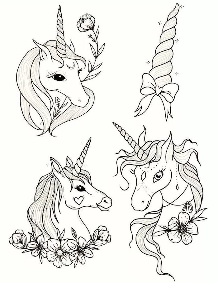 black and white pencil sketch, three different unicorn and one horn with a ribbon, how to draw a cute unicorn