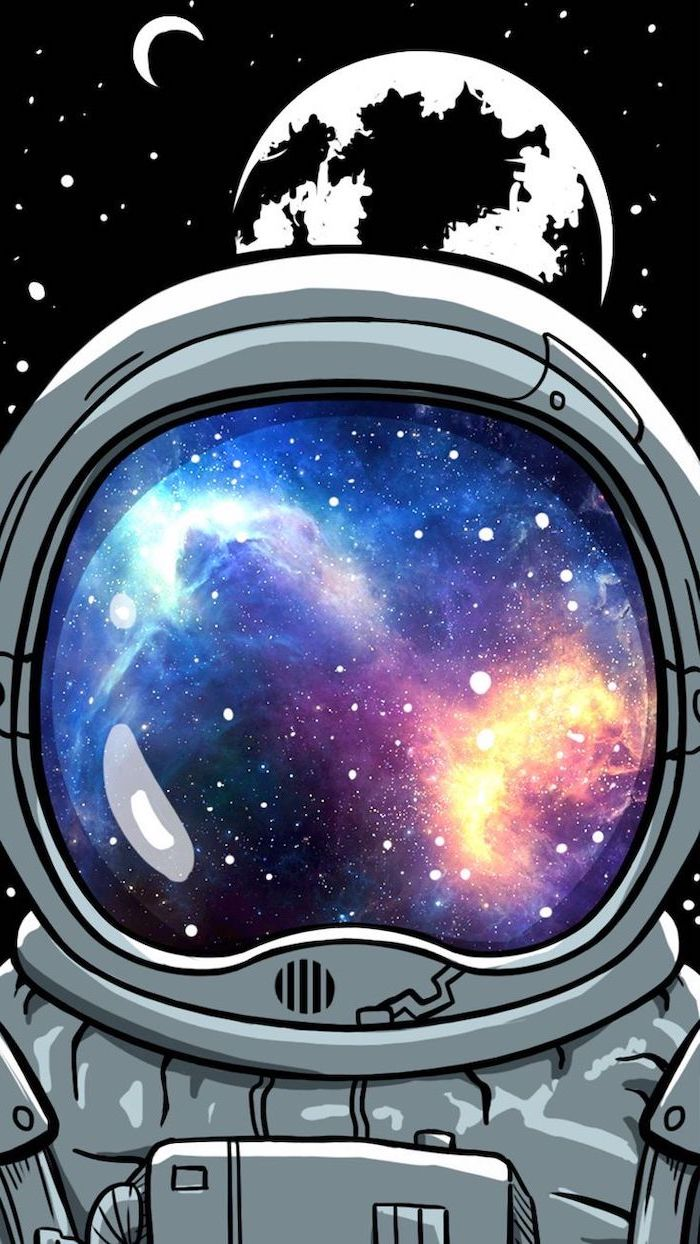 cartoon image of an astronauts visor, 2k wallpapers, colorful galaxy in it, black background with earth and moon