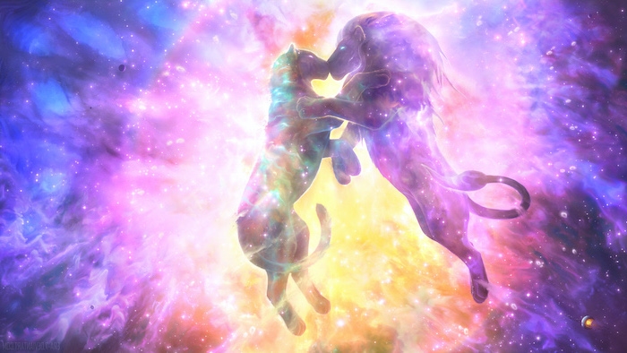 cartoon image of lion and lioness kissing, galaxy phone wallpaper, colorful background in pink purple and orange