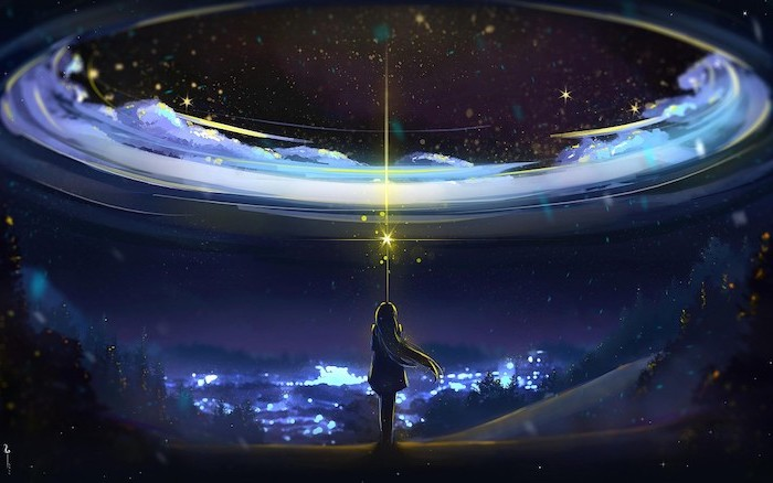 cartoon image of a girl shining a light at the sky, galaxy phone wallpaper, portal to the galaxy in dark aesthetic