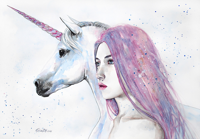 watercolor painting of unicorn and woman, unicorn drawing easy, woman with pink and blue hair, pink and blue unicorn horn