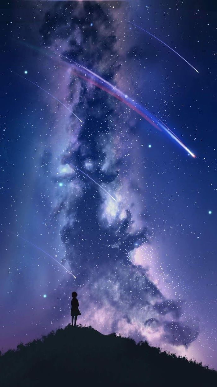 girl standing on top of a hill, shooting stars in the sky, space wallpaper iphone, purple and blue colors in the sky