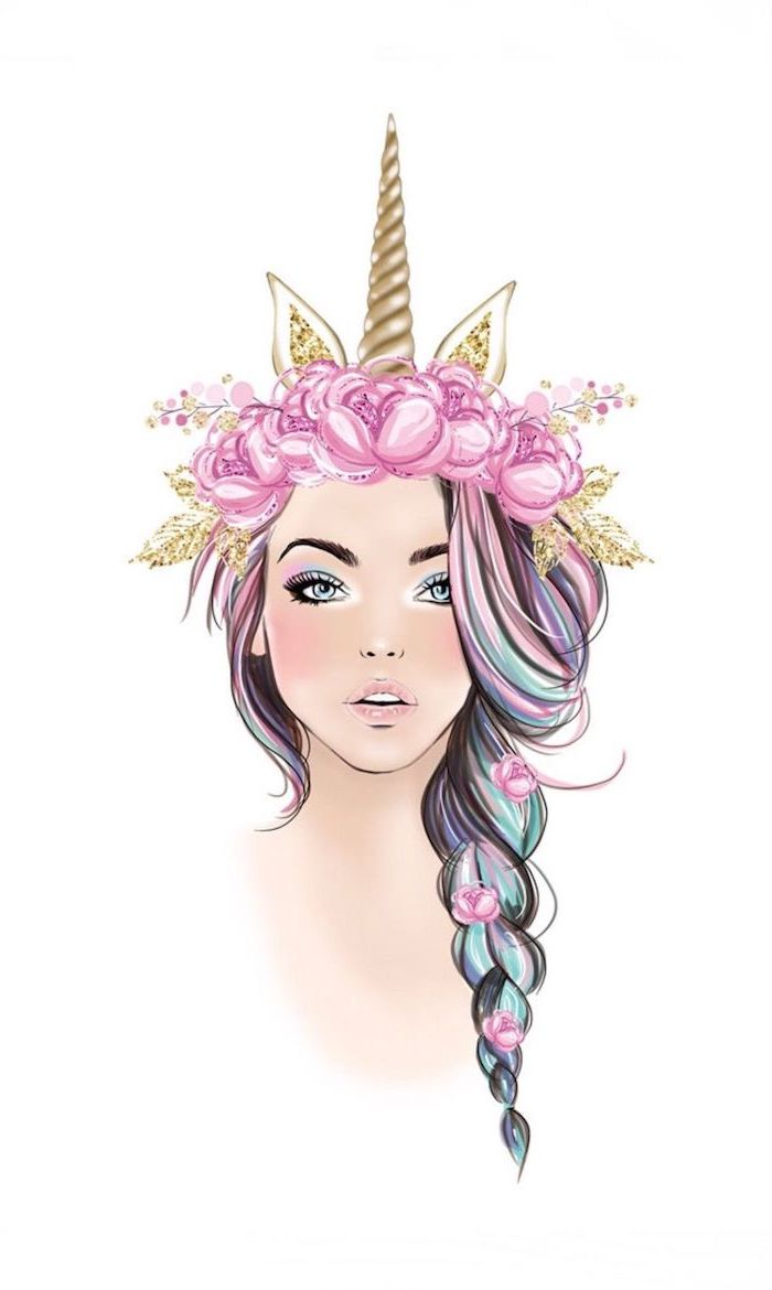 woman with rainbow colored hair in a braid, unicorn drawing easy, gold unicorn horn and ears, pink floral crown