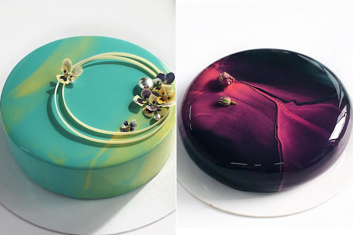 chocolate mirror glaze, side by side photos of two one tier cakes, one with green glaze, the other with red and black glaze