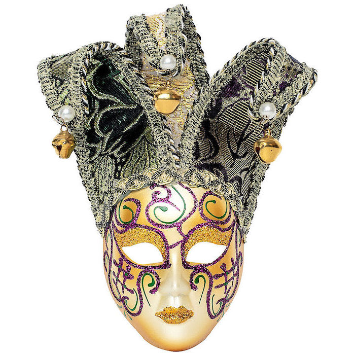 gold mask, decorated with purple and green glitter, gold masquerade mask, jester mask with bells at the end