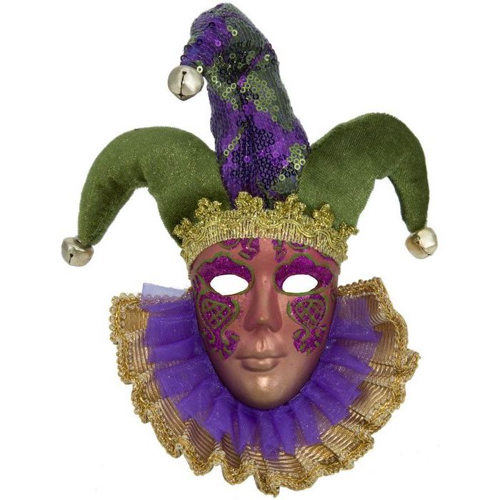 gold masquerade mask, jester mask in purple green and gold, bells at the end, decorated with pink and green glitter