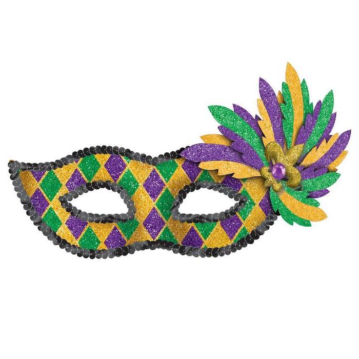 purple gold and green glitter mask, gold masquerade mask, decorated with black sequins around the edges