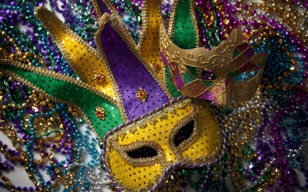 6 Mardi Gras Themed GLITTER Masks Costume Party Favor DECORATIONS FAT TUESDAY