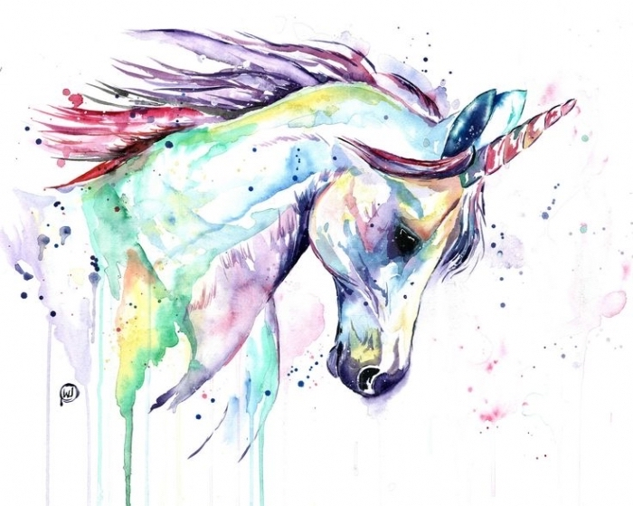 watercolor painting of unicorn head, how to draw a cute unicorn, rainbow colors used, drawn on white background