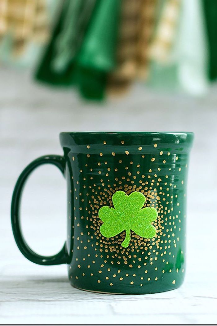 coffee mug painted in green, gold dots all over it, st patrick's day accessories, green glitter shamrock in the middle