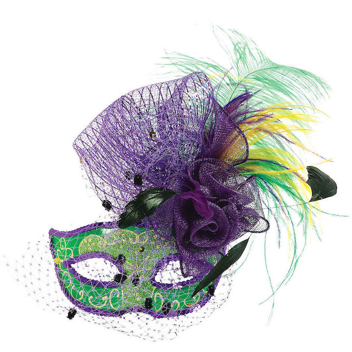 green mask, decorated with gold, male masquerade masks, purple sequins around the edges, green and yellow feathers