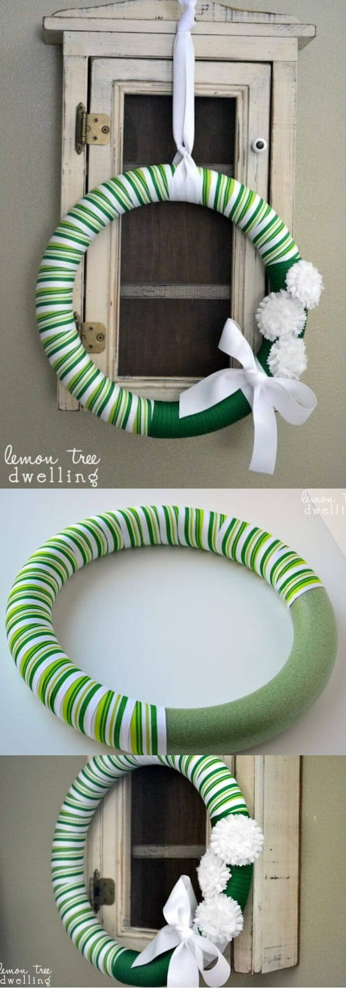 photo collage of step by step diy tutorial, wreath covered with green and white ribbon, st patricks decor