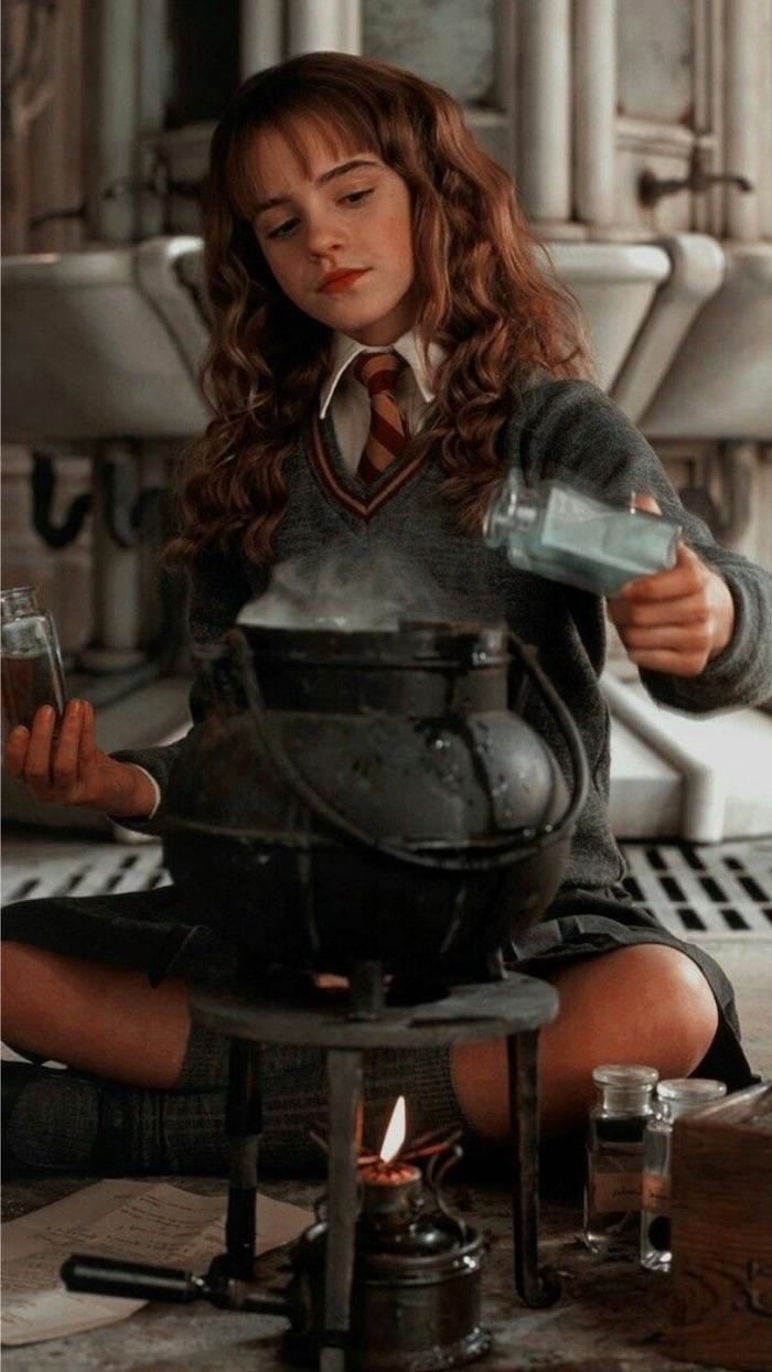 emma watson as hermione granger, sitting on the floor, preparing polyjuice potion, harry potter desktop wallpaper