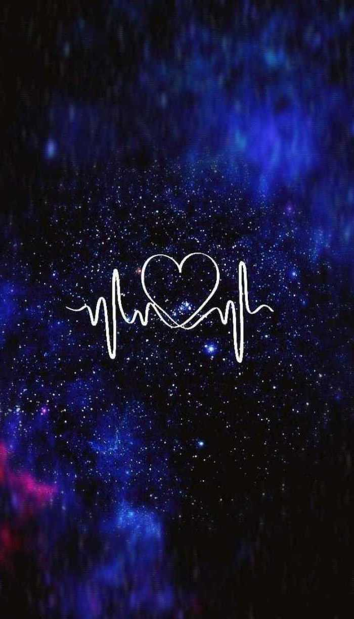 heart and heartbeat in the middle, 2k wallpapers, dark aesthetic background, blue black and pink colors