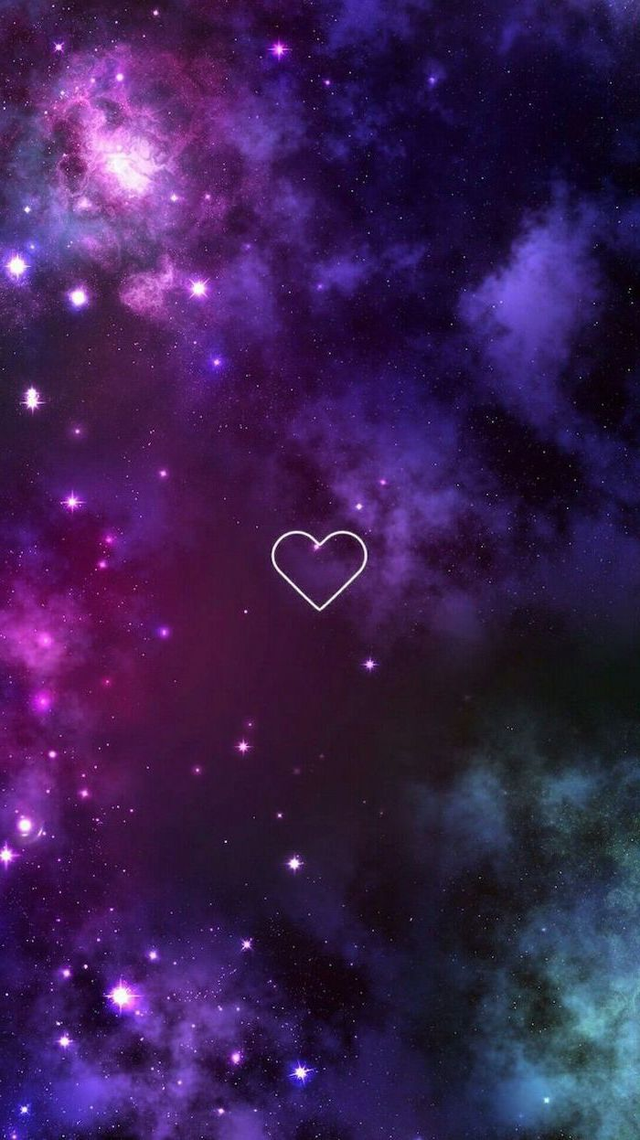 white heart outline in the middle, galaxy in the background in purple pink and turquoise, universe wallpaper, sky filled with stars