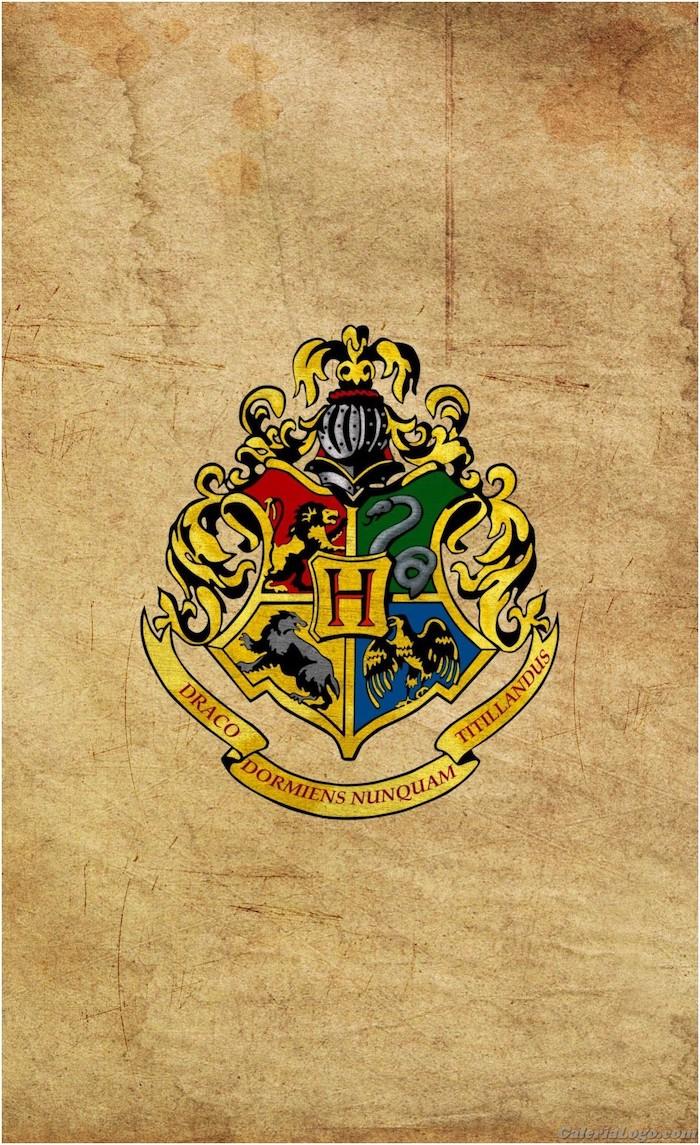 hogwarts symbol on dark beige background, harry potter desktop wallpaper, gryffindor and slytherin, hufflepuff and ravenclaw